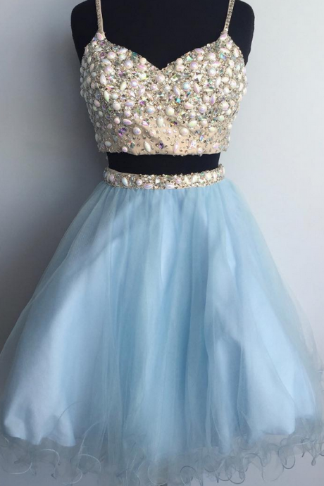Baby Blue Two PiecesHomecoming Dress, Beadings Tulle Homecoming Dress