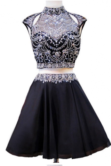 Dresses Short High Neck Sparkly Cap Sleeve Beaded Crystals 8th Grade Prom Backless Chiffon Homecoming Dress