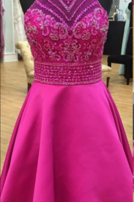 A-line Homecoming Dresses Sleeveless Round Short/Mini Beading Custom Made Zipper Dresses