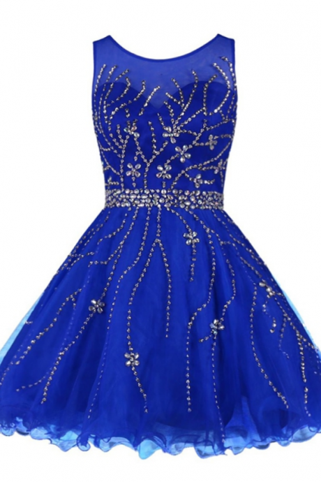 Homecoming Dresses with Silver Beaded, Short Prom Dresses, Royal Blue Prom Dresses, Chiffon Prom Dresses Backless, Prom Dresses, Short Prom Dress, Real Samples Prom Dresses