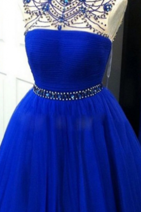 A-line Homecoming Dresses Sleeveless High Neck Knee-length Beading Customized Zipper Dresses