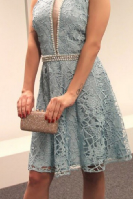 A-line Homecoming Dresses Sleeveless Jewel Short/Mini Beading Customized Zipper Dresses