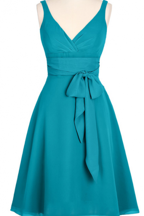 A-line V-neck Chiffon Short Backless Turquoise Homecoming Dress Bridesmaid Dress With Sash