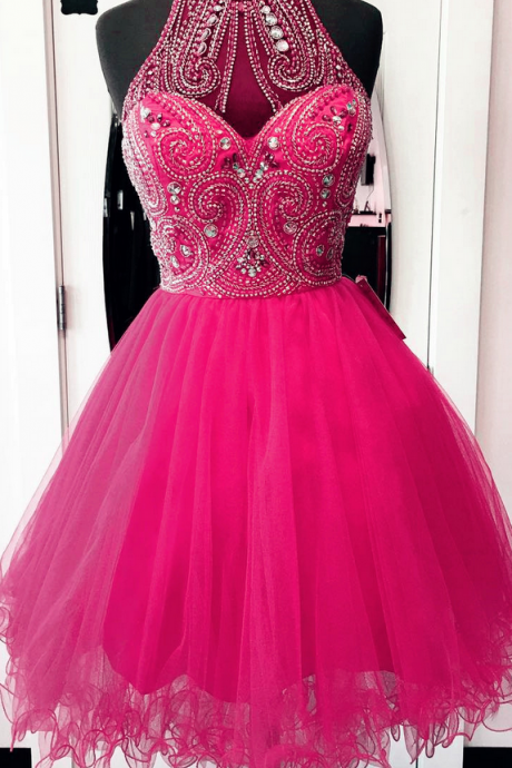 Prom Dresses,Homecoming Dresses,high neck homecoming dresses,hot pink prom dresses,chic party dress,women's cocktail dress