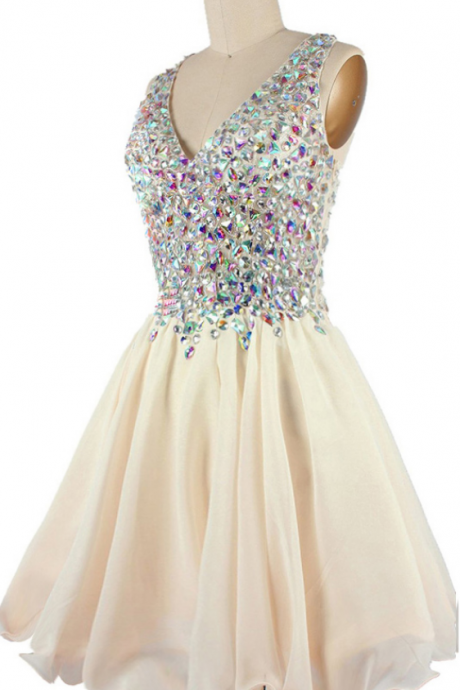 Short A-line Homecoming Dress with Plunging Neckline and Iridescent Beads