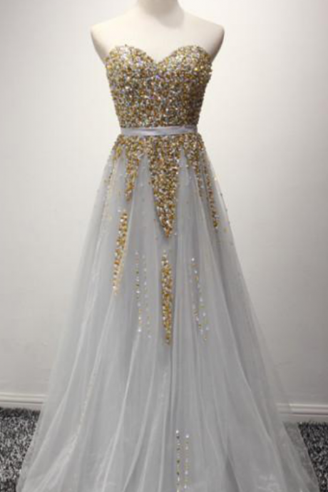 Sparking Silver Party Prom Dresses Sweetheart Gold Beaded Princess A Line Evening Formal Gowns