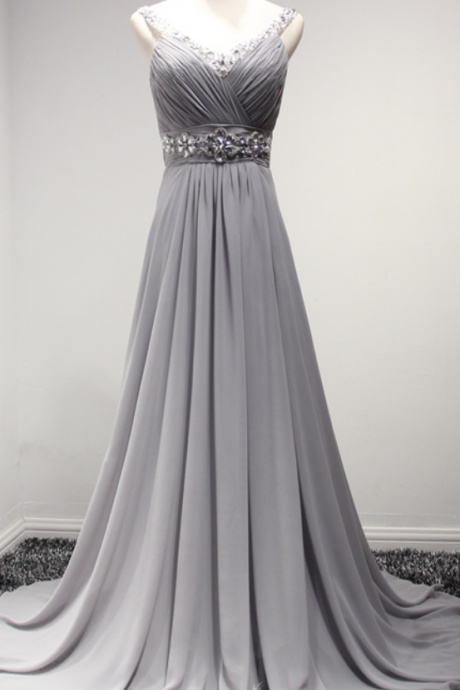 Grey Chiffon Women Party Dresses,Evening Dresses,Long sexy Party Dresses, V-Neck Backless Beads Prom Gowns,Formal Dresses