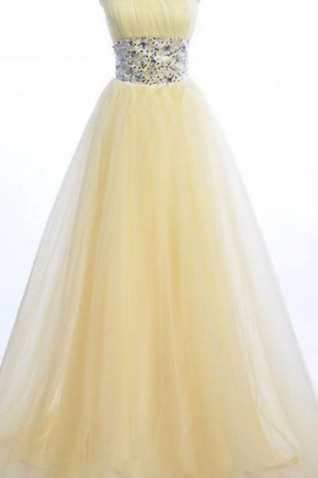 One Shoulder Long Tulle Prom Dresses Crystals Women party Dresses