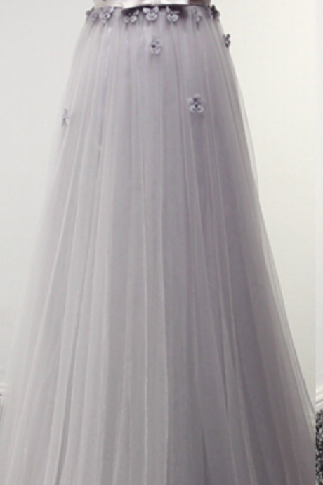Sexy Long Tulle Prom Dresses, Appliques Party Dresses, Evening Dresses