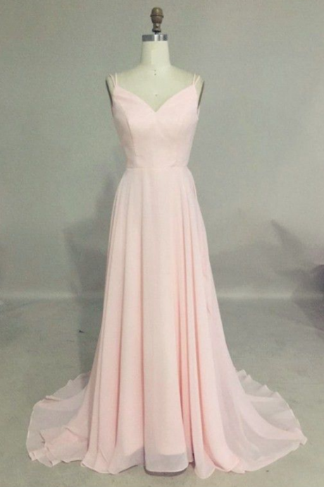 Elegant prom dresses,pink prom dresses,cheap sweep train prom dresses,backless prom dresses,pink prom party dresses
