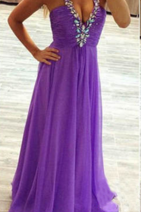 Halter Neck Purple Chiffon Prom Dresses Floor Length Crystals Women Party Dresses