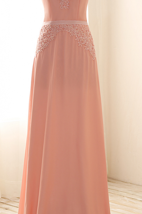 Custom Made Pink V-Neckline Chiffon Crystal Beaded Evening Dress, Prom Dress, Wedding Dress, Bridesmaid Gowns