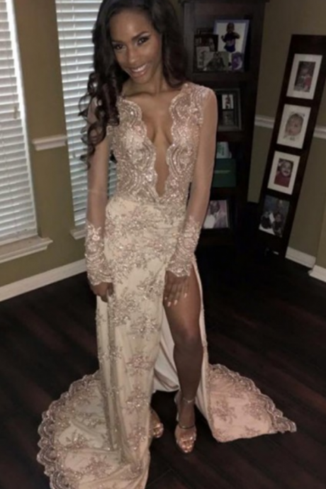 Sexy Deep V Neck Long Sleeves Sweep Train Split Beige Prom Dress with Beading