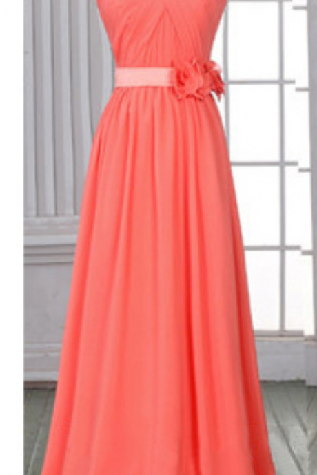 Cheap Sweetheart Watermelon Bridesmaid Dresses, Chiffon Sheath Prom Dress with Lace-up Back