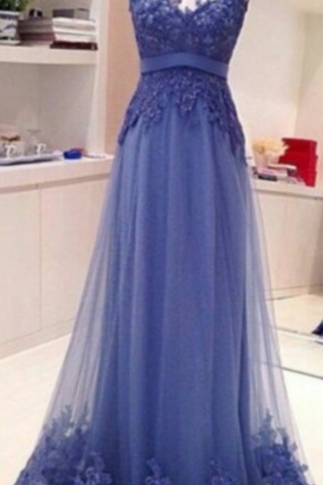 Long tulle Appliques Prom Dresses Backless Party Dresses