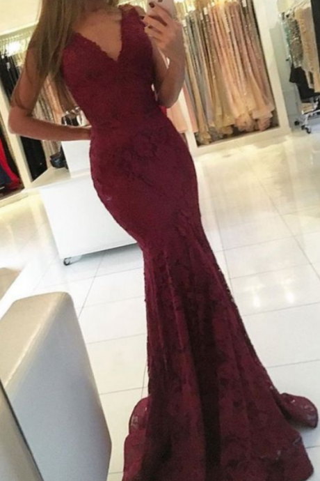 Mermaid Prom Dresses,Evening Dresses,Lace Prom Dresses,Sexy Prom Dresses,V-neck Prom Dresses,Charming Prom Gowns,Prom Dresses For Teens,Women Dresses
