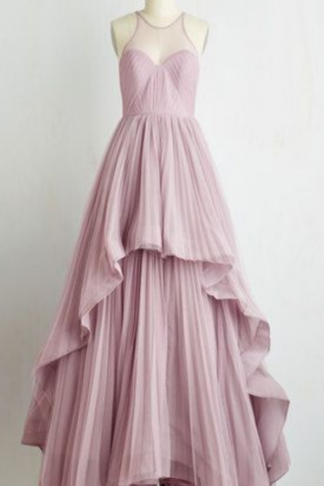 Unique high low ruffles pink pleats scoop chiffon prom formal dresses