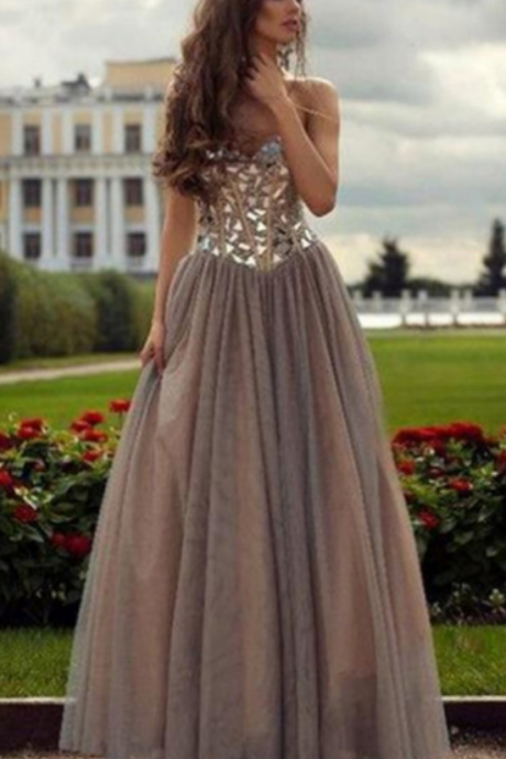Long A-line Sweetheart Beading Tulle Prom Dresses