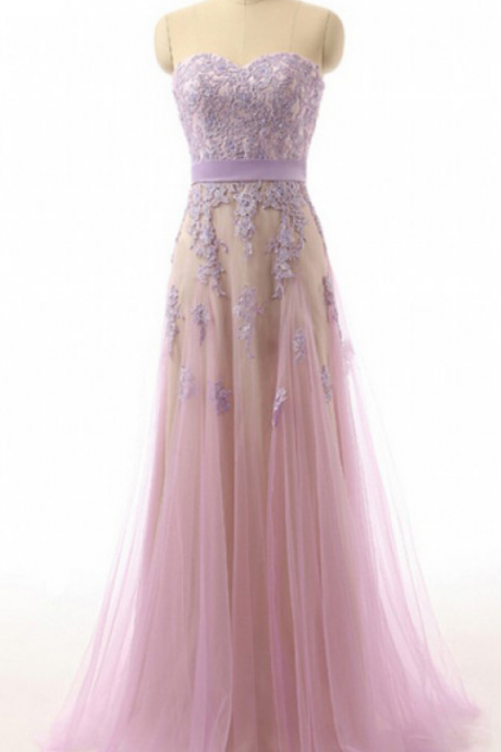 Lavender Lace Sweetheart Tulle Prom Dresses Evening Dresses