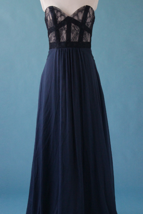 Elegant Deep Blue Sweetheart A-line Floor Length Prom Dresses, Elegant Prom Dresses, Evening Dresses, Bridesmaid Dresses