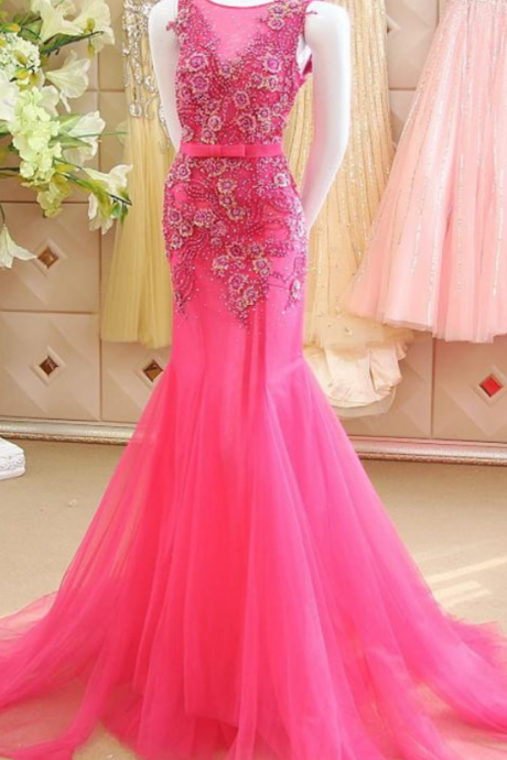Prom Dress,Sexy Elegant Appliques Prom Dress,Mermaid Prom Dress,Luxury Prom Dresses,Flowers Prom Dress