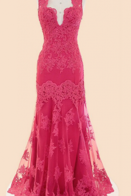 Deep V-neck Fuchsia Mermaid Long Lace Prom Dresses