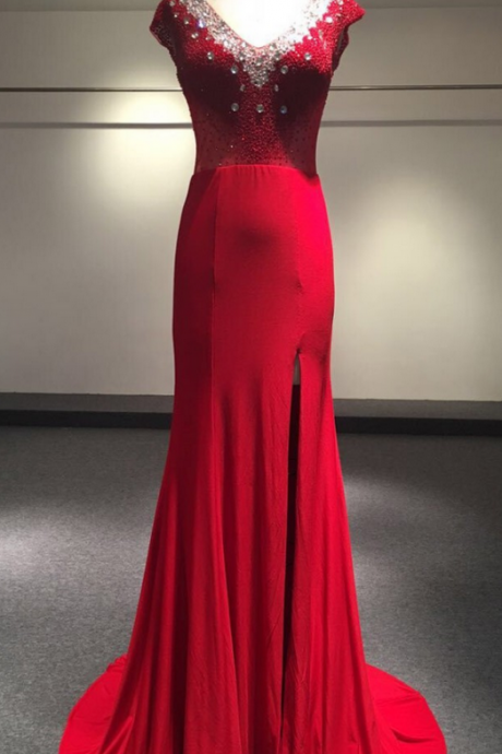 Real Photo Dubai Arabic Mermaid Evening Dress Red Deep V-neck Beaded Fashion Evening Gowns robe de soiree