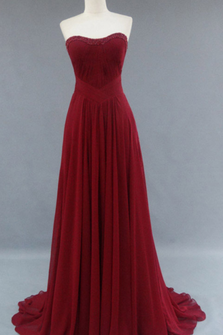 Prom Dress,Burgundy Prom Dress,Strapless Chiffon Prom Dresses,Custom Made Prom Dresses,Long Elegant Prom Dress, Sexy Prom Dress, Long Prom Dresses
