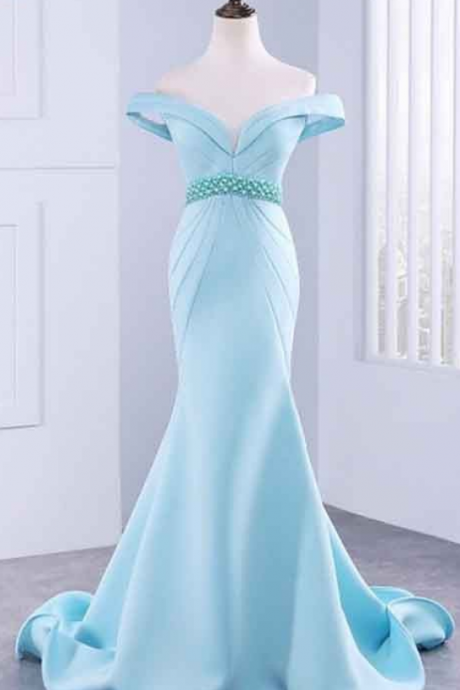 Sexy Mermaid Long Prom Dress, With Beading Luxury Evening Dress, Satin Prom Dresses