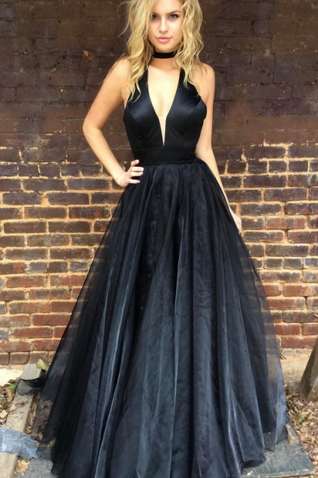 Black Prom Dress, Halter V Neck Prom Dresses, Black Evening Dress, Long Prom Dresses,Sexy Prom Gowns,Long Formal Dress,Ball Gowns, Party Dress