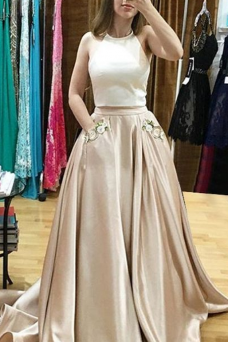 Princess Prom Dresses,Two Pieces Prom Dresses,Ivory And Pink Prom Dresses,Cirly Prom Dress,Prom Dresses For Teens,Evening Dresses,Beautiful Prom Gowns,Simple Cheap Party Dresses