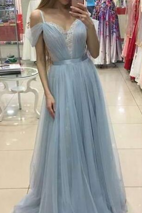 Cheap Prom Dresses,Light Blue Simple Prom Dresses,Tulle Prom Dresses,Lace Off The Shoulder Prom Dresses