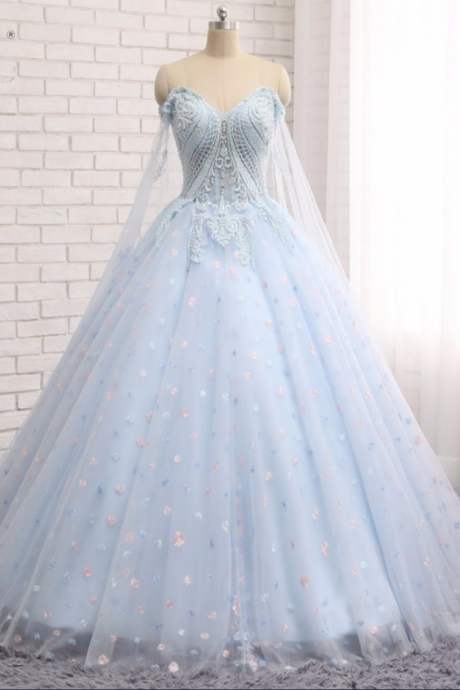 Charming Prom Dress,Ball Gown Prom Dress,Light Blue Tulle Prom Dresses,Elegant Evening Dress,Quinceanera Dresses