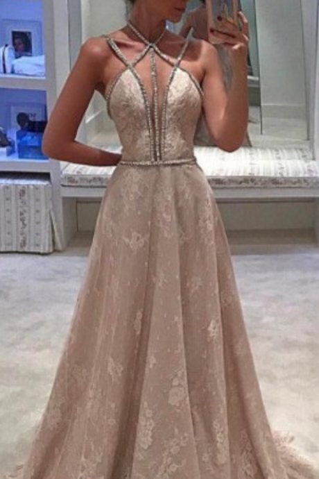 Elegant A-Line Sweep Train Light Champagne Lace Prom Dress with Beading