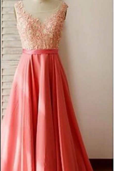 O Neckline Coral Chiffon Sleeveless Long Prom Dresses