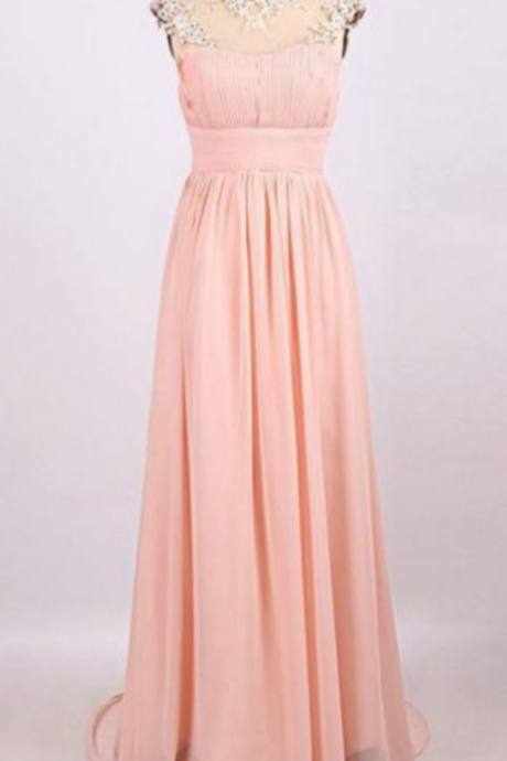 Long A-line High Neck Chiffon Prom Dresses