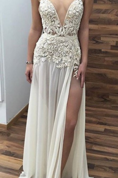 Sleeveless Evening Dress,Formal Women Dress,Sexy Prom Dress, Appliques V Neck Prom Dress,Long Prom Dresses with Side Slit,