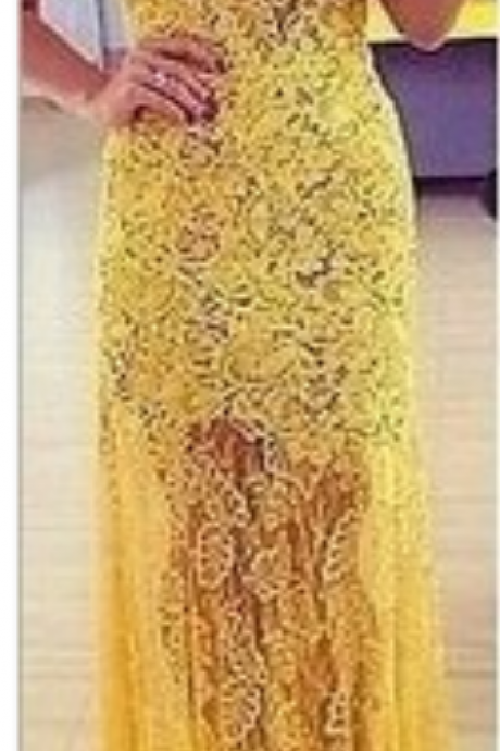 Openwork Lace Prom Dress, Sexy Prom Dress, Yellow Prom dresses, Long prom dress
