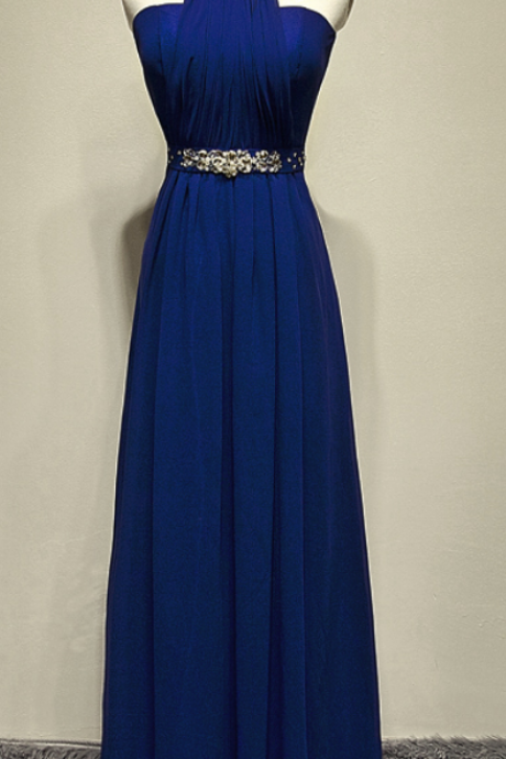 Pretty Elegant Blue Long Beaded Halter Neckline Long Formal Dresses Blue Prom Dresses Evening Dresses Evening Gowns