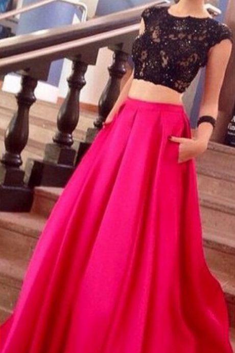 wo Pieces Prom Dresses , Sleeveless Prom Dresses , Black Prom Dresses ,Satin Prom Dresses ,Pretty Girls Dresses, Women Prom Dresses , Weding Party Dressses