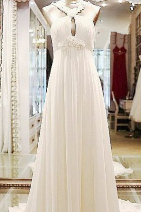 Pretty Simple Ivory Long Prom Dresses, Simple Wedding Dresses, Simple Formal Dresses