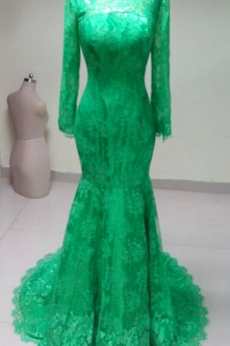 High Neck Elegant long sleeves green lace mermaid Prom Dress