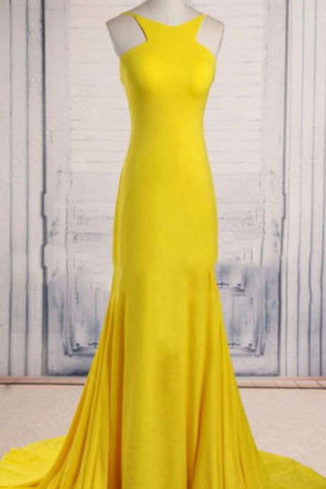 Pretty Handmade Yellow Scoop Neck Court Train Ruffles Backless Prom Dress, Prom Dresses