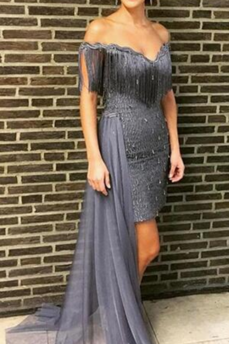 Grey Prom Dresses Off the Shoulder Beading Crystals Tassle Evening Dresses Formal Gowns