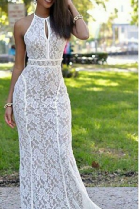 White Prom Dresses Sweep Train Mermaid Lace