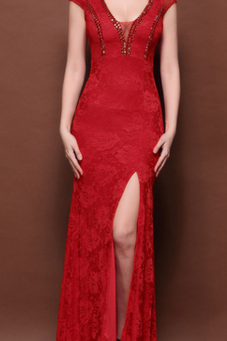 Red Lace Prom Dresses,Sexy Evening Dresses, Beaded Evening Dresses , Slit Evening Dresses, Floor Length Evening Gowns