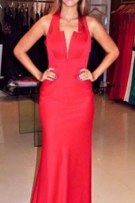 Red Backless Sheath Satin Prom Dresses