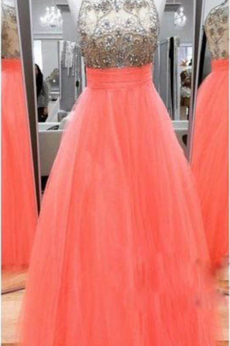 Scoop Neck Long Tulle Prom Dresses Crystals Beaded Women Party Dresses