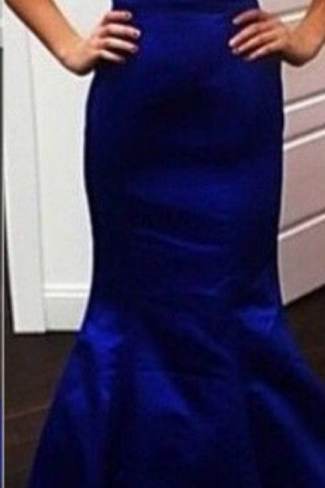Dark Blue Mermaid Satin Prom Dresses Sweetheart Neck Pleat Floor Length Party Dresses Custom Made Women Dresses