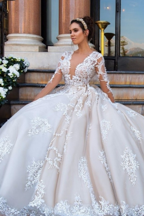 Wedding Dresses, Wedding Gown,elegant lace appliques v neck tulle ball gowns wedding dress